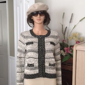 INC black and white knitted jacket